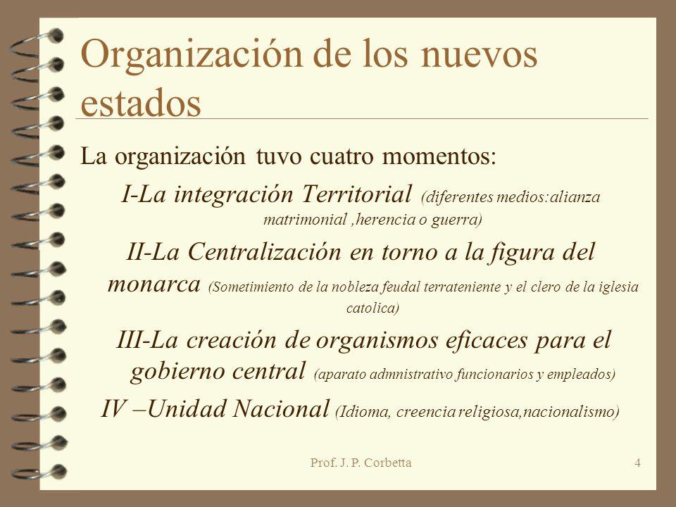 Organización de los nuevos estados