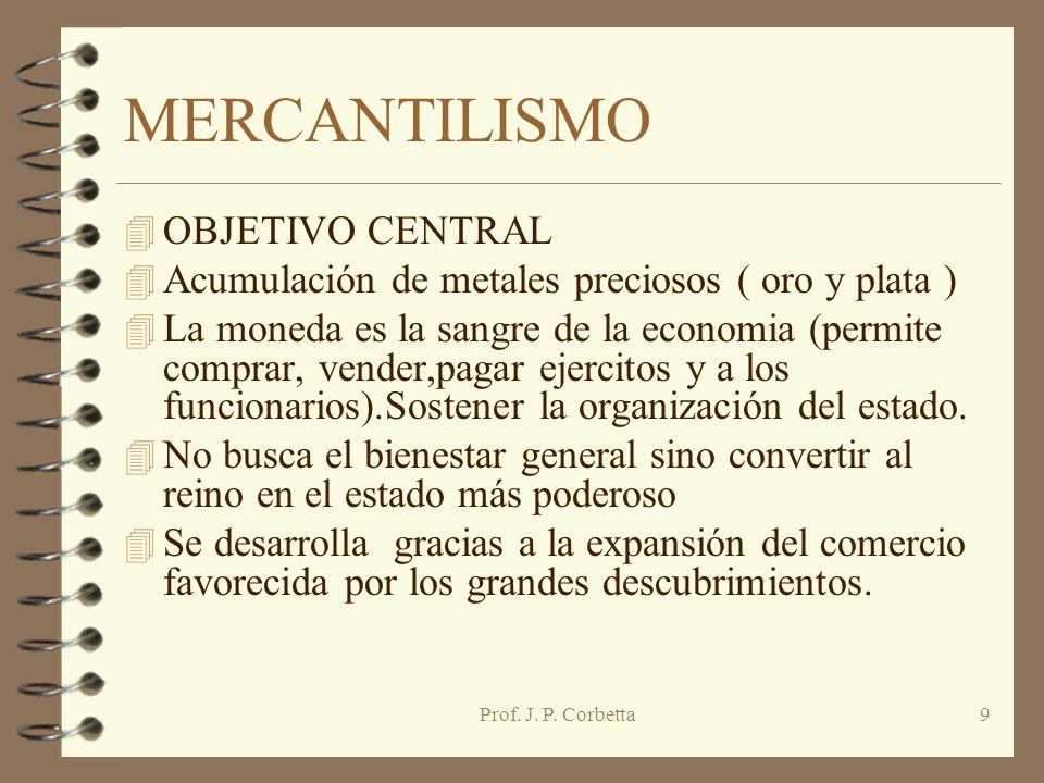MERCANTILISMO OBJETIVO CENTRAL