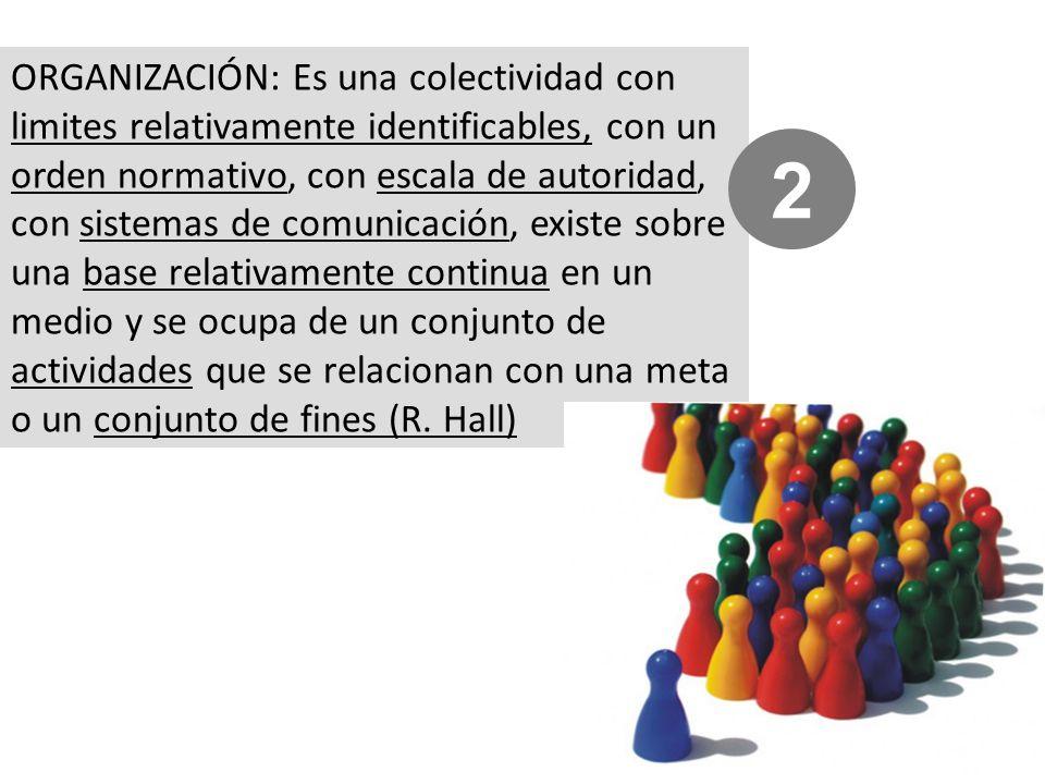 ORGANIZACIÓN: Es una colectividad con limites relativamente identificables, con un orden normativo, con escala de autoridad, con sistemas de comunicación, existe sobre una base relativamente continua en un medio y se ocupa de un conjunto de actividades que se relacionan con una meta o un conjunto de fines (R. Hall)