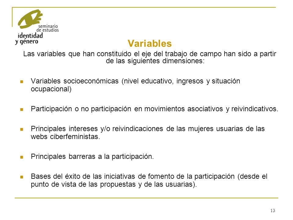 Variables Las variables que han constituido el eje del trabajo de campo han sido a partir de las siguientes dimensiones: