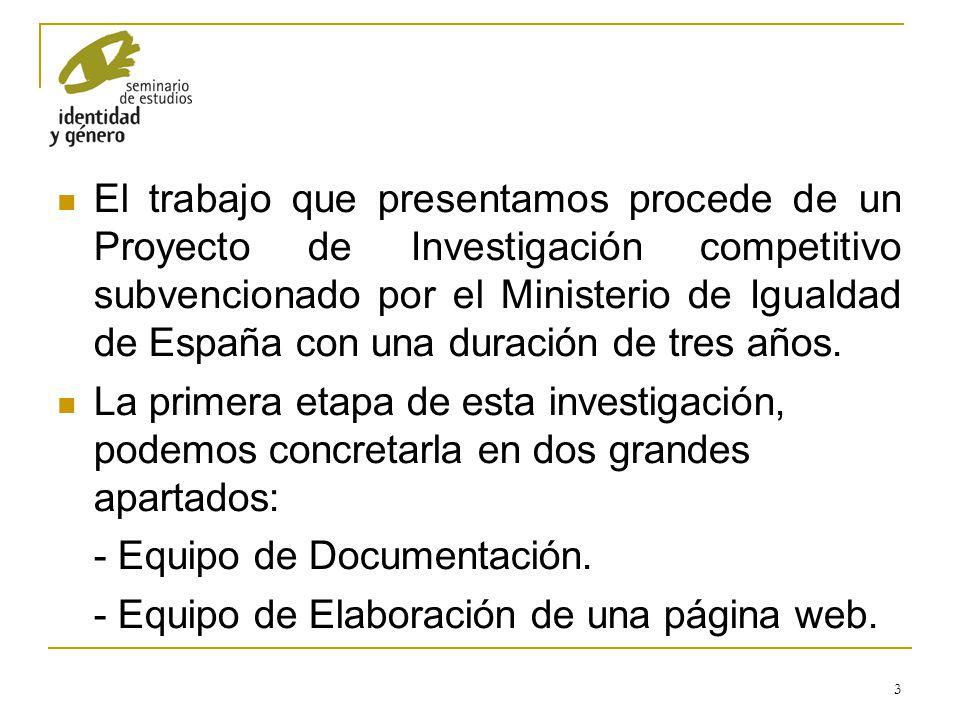 El trabajo que presentamos procede de un Proyecto de Investigación competitivo subvencionado por el Ministerio de Igualdad de España con una duración de tres años.
