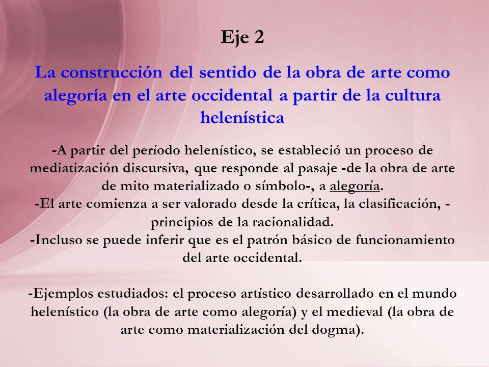 Eje 2 La construcción del sentido de la obra de arte como alegoría en el arte occidental a partir de la cultura helenística.