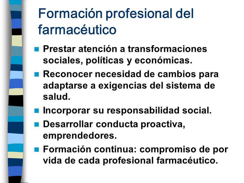 Formación profesional del farmacéutico