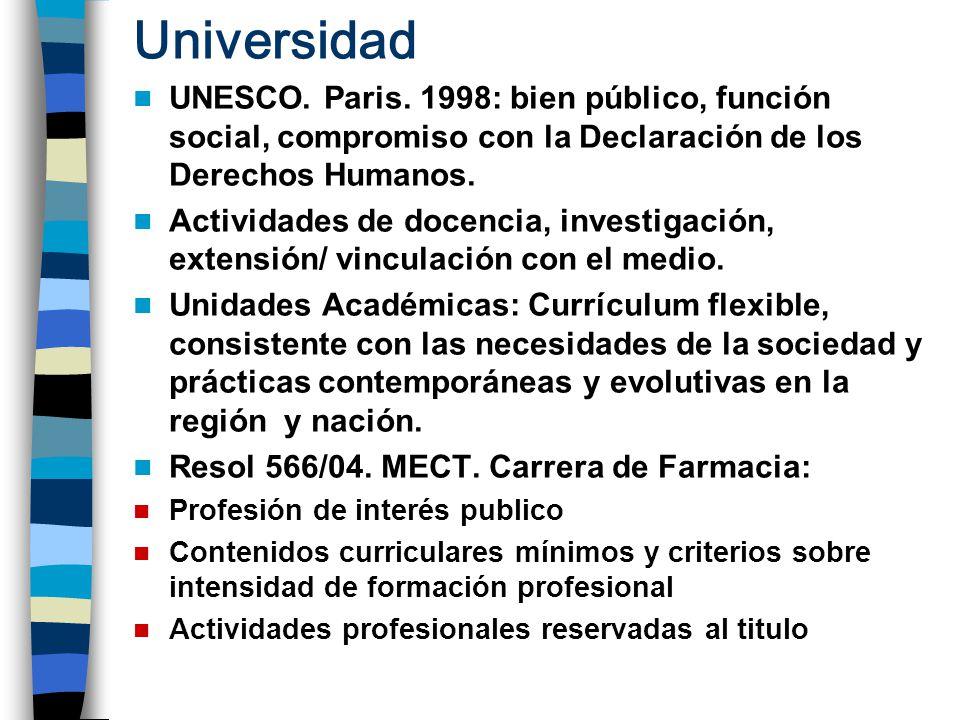Universidad UNESCO. Paris. 1998: bien público, función social, compromiso con la Declaración de los Derechos Humanos.