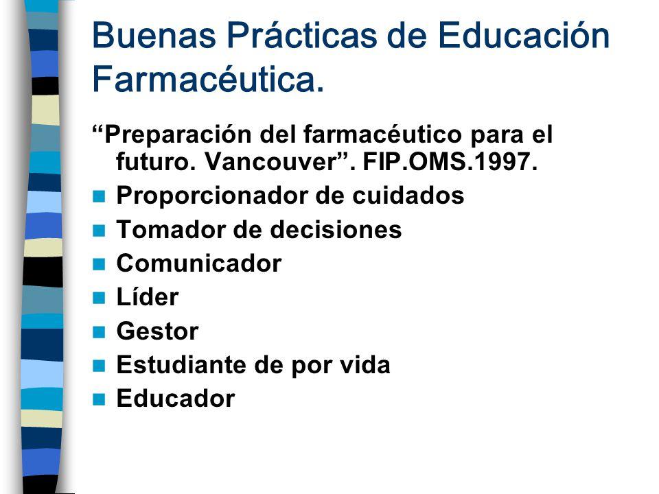 Buenas Prácticas de Educación Farmacéutica.