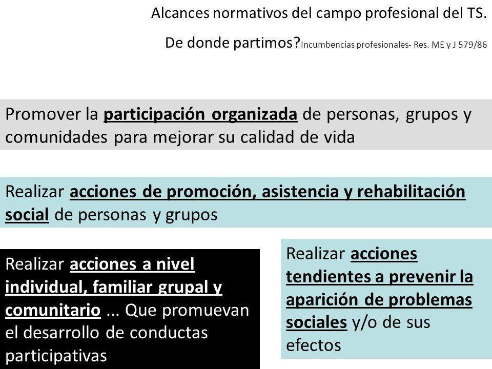 Alcances normativos del campo profesional del TS.