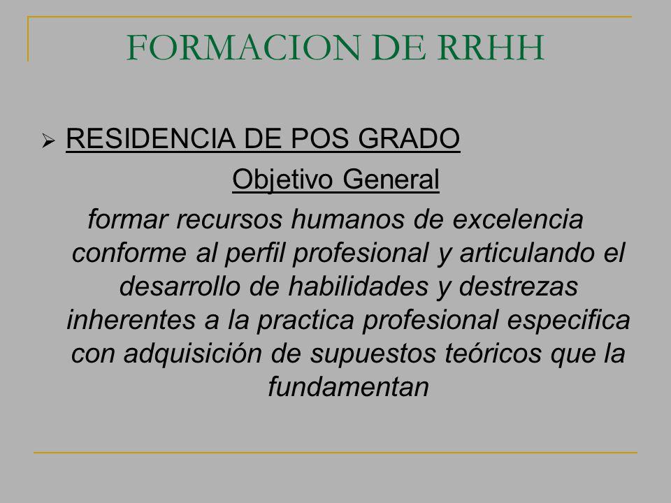 FORMACION DE RRHH RESIDENCIA DE POS GRADO Objetivo General