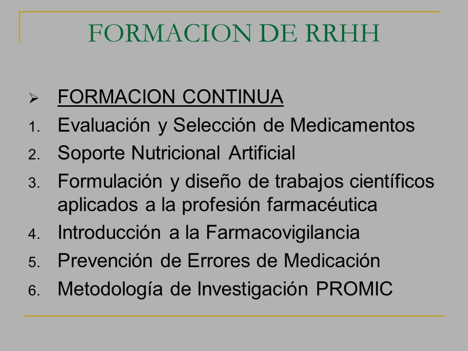 FORMACION DE RRHH FORMACION CONTINUA