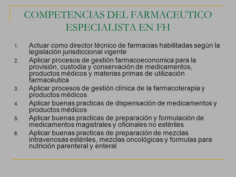 COMPETENCIAS DEL FARMACEUTICO ESPECIALISTA EN FH