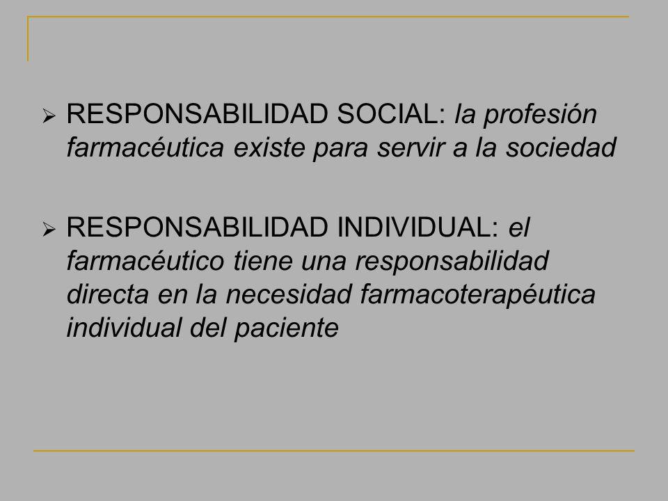 RESPONSABILIDAD SOCIAL: la profesión farmacéutica existe para servir a la sociedad