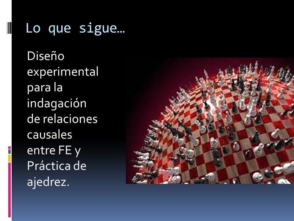 Lo que sigue… Diseño experimental para la indagación de relaciones causales entre FE y Práctica de ajedrez.