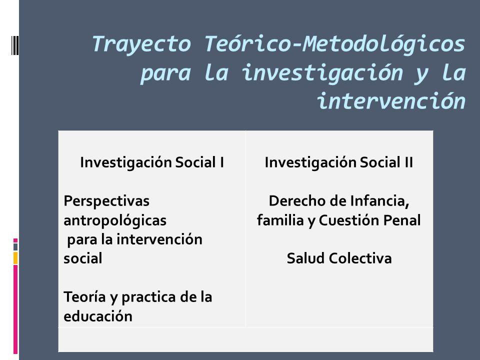 Trayecto Teórico-Metodológicos para la investigación y la intervención