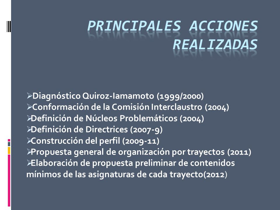 Principales Acciones realizadas