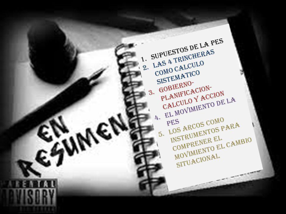 SUPUESTOS DE LA PES LAS 4 TRINCHERAS COMO CALCULO SISTEMATICO. GOBIERNO- PLANIFICACION- CALCULO Y ACCION.