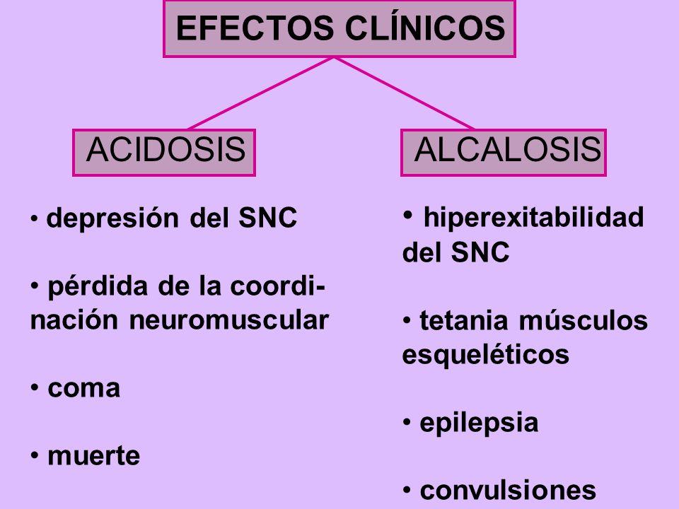 EFECTOS CLÍNICOS ACIDOSIS ALCALOSIS hiperexitabilidad del SNC