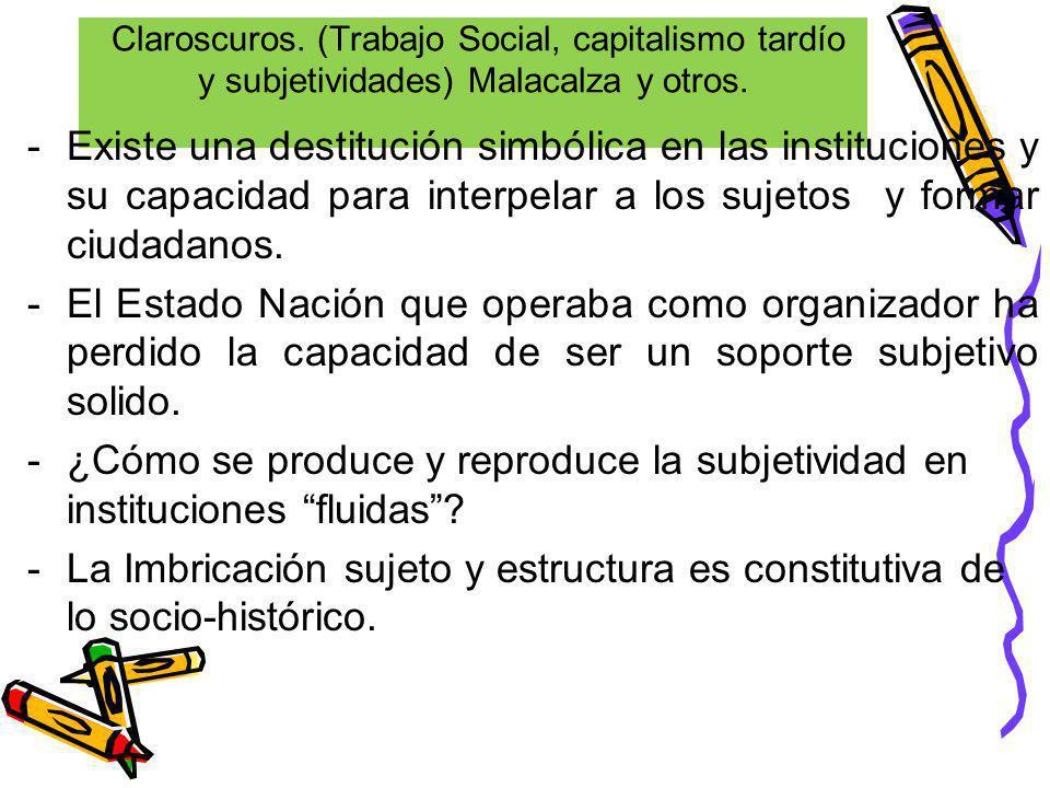 Claroscuros. (Trabajo Social, capitalismo tardío y subjetividades) Malacalza y otros.