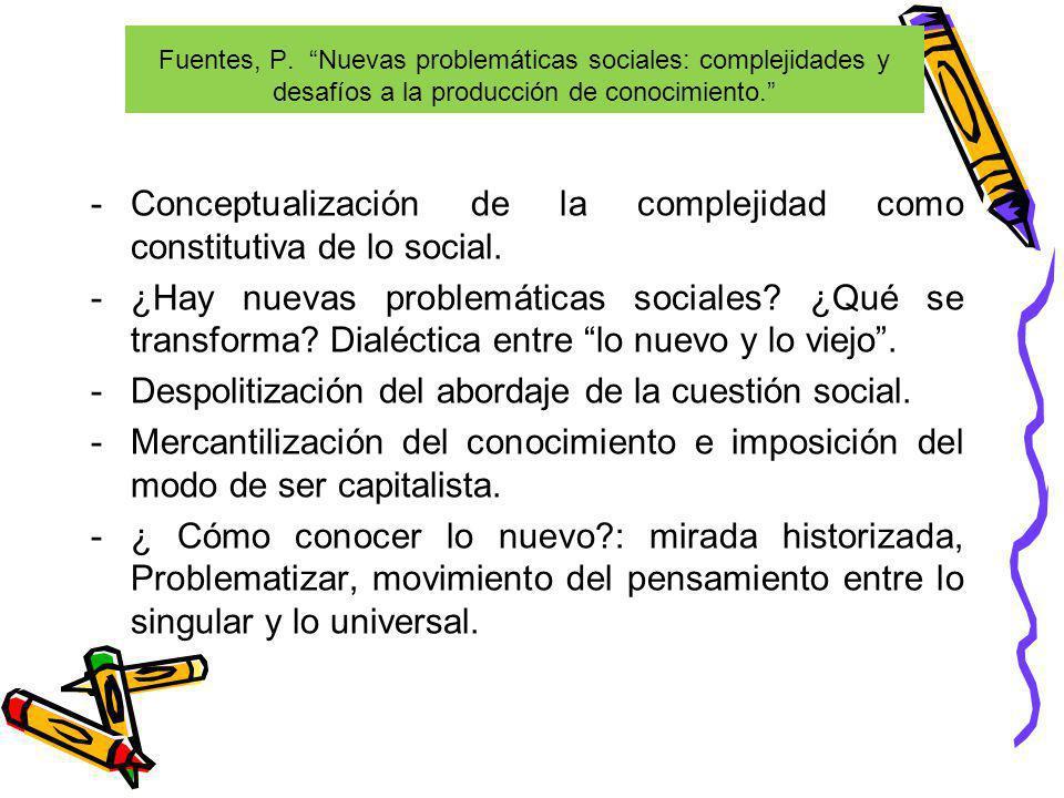 Conceptualización de la complejidad como constitutiva de lo social.