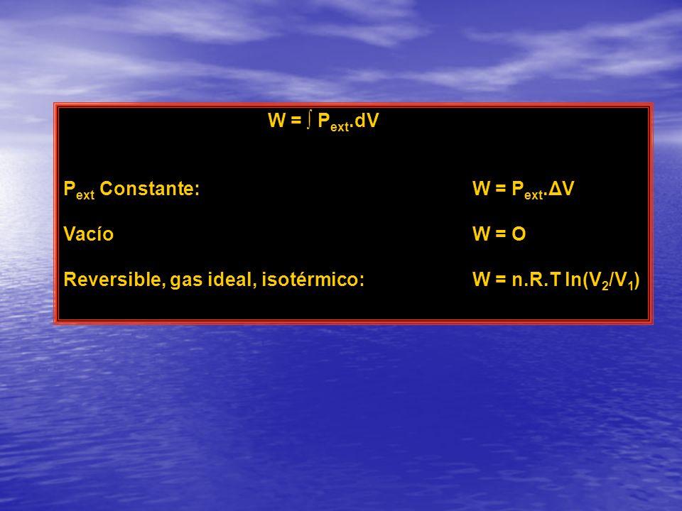W = ∫ Pext.dV Pext Constante: W = Pext.ΔV. Vacío W = O.