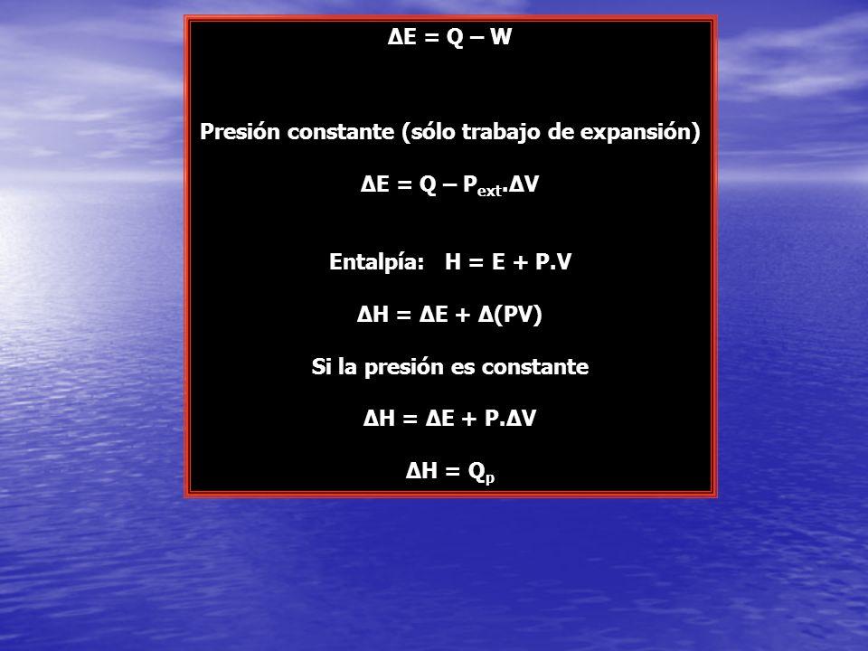 Presión constante (sólo trabajo de expansión) ΔE = Q – Pext.ΔV