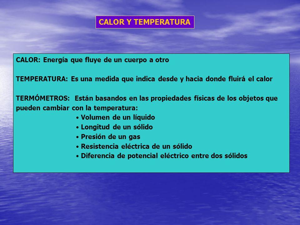 CALOR Y TEMPERATURA CALOR: Energía que fluye de un cuerpo a otro