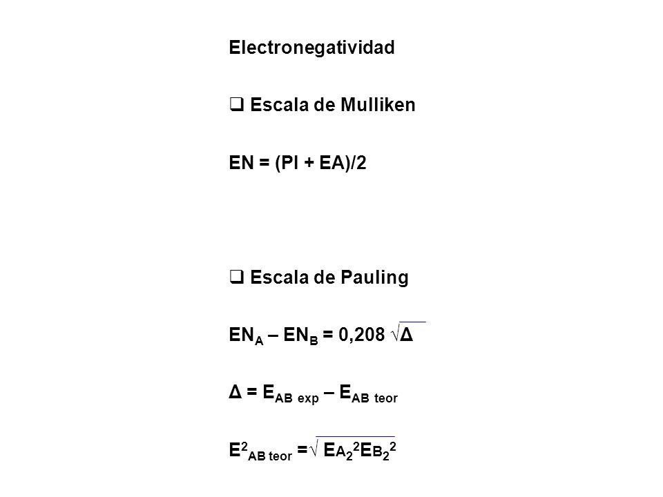 Electronegatividad Escala de Mulliken. EN = (PI + EA)/2. Escala de Pauling. ENA – ENB = 0,208 √Δ.
