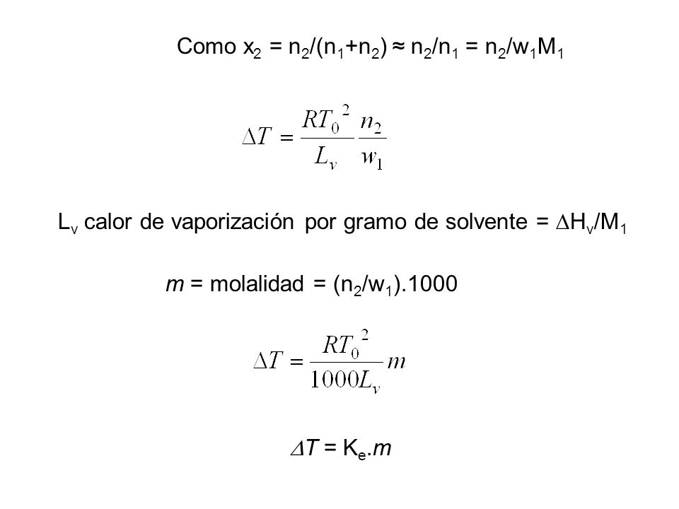 Como x2 = n2/(n1+n2) ≈ n2/n1 = n2/w1M1