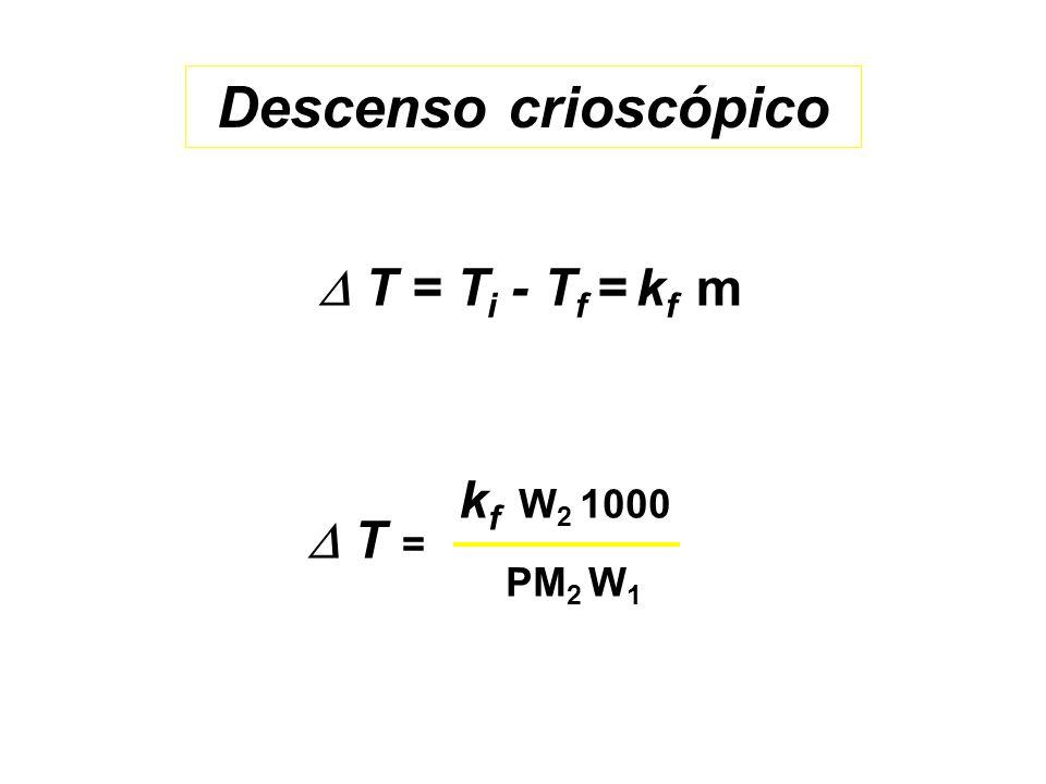 Descenso crioscópico  T = Ti - Tf = kf m kf W2 1000 PM2 W1  T =