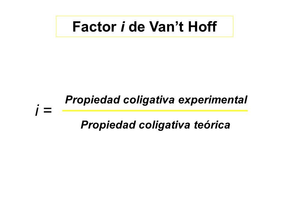 i = Factor i de Van't Hoff Propiedad coligativa experimental