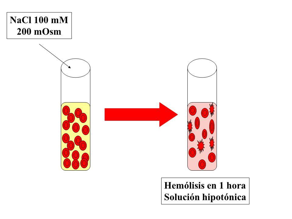 NaCl 100 mM 200 mOsm Hemólisis en 1 hora Solución hipotónica