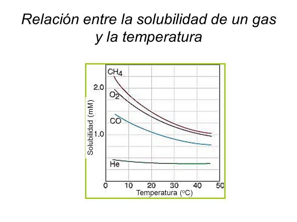 Relación entre la solubilidad de un gas y la temperatura