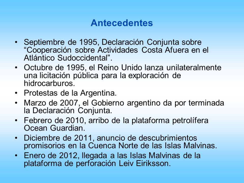 AntecedentesSeptiembre de 1995, Declaración Conjunta sobre Cooperación sobre Actividades Costa Afuera en el Atlántico Sudoccidental .