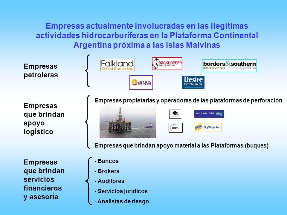 Empresas actualmente involucradas en las ilegítimas actividades hidrocarburíferas en la Plataforma Continental Argentina próxima a las Islas Malvinas