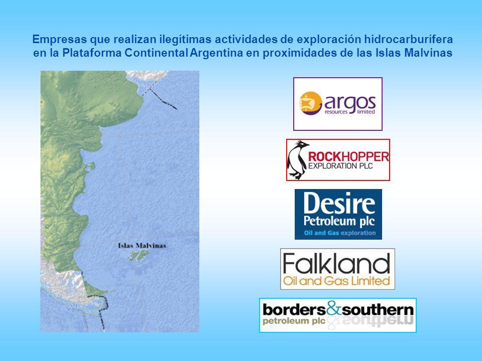 Empresas que realizan ilegítimas actividades de exploración hidrocarburífera en la Plataforma Continental Argentina en proximidades de las Islas Malvinas
