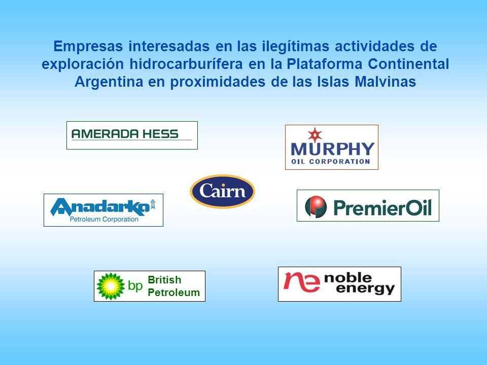 Empresas interesadas en las ilegítimas actividades de exploración hidrocarburífera en la Plataforma Continental Argentina en proximidades de las Islas Malvinas