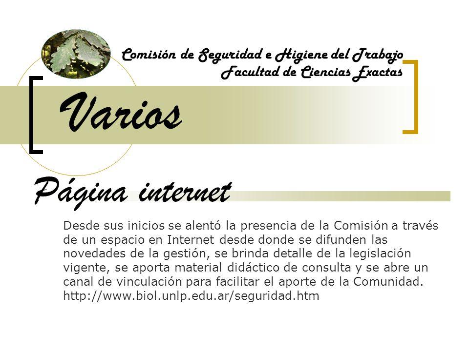 Varios Página internet Comisión de Seguridad e Higiene del Trabajo