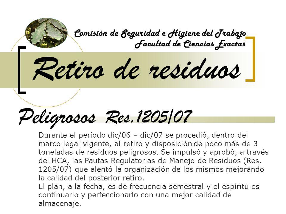 Retiro de residuos Peligrosos Res.1205/07