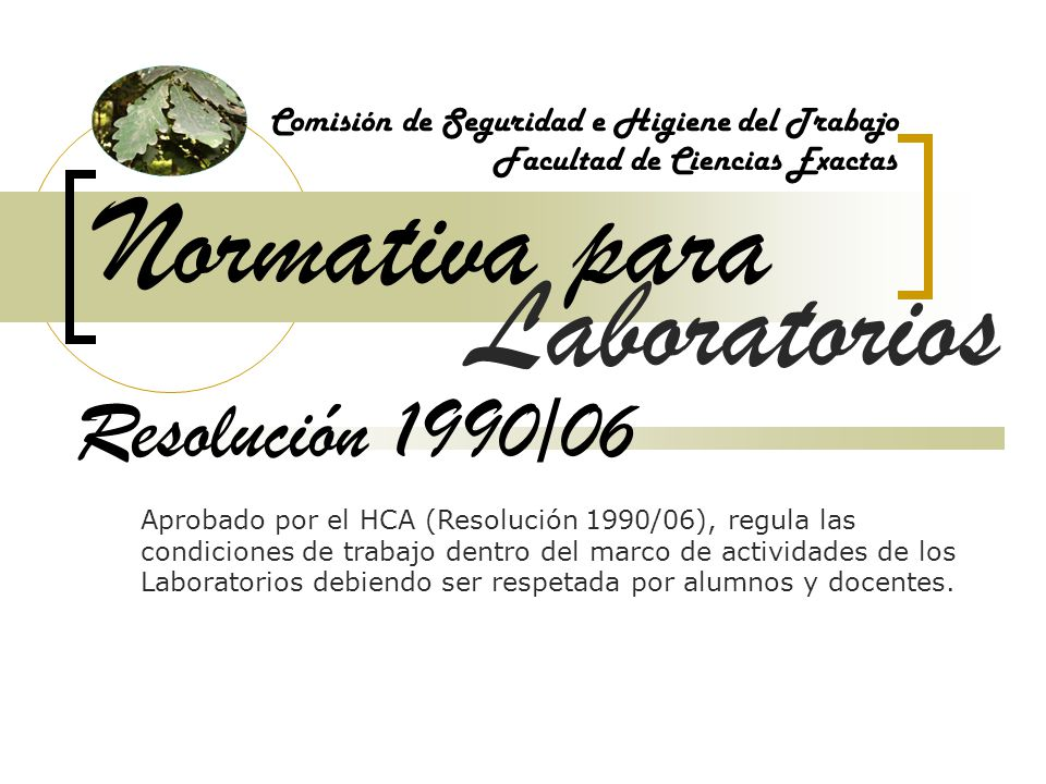 Normativa para Laboratorios Resolución 1990/06