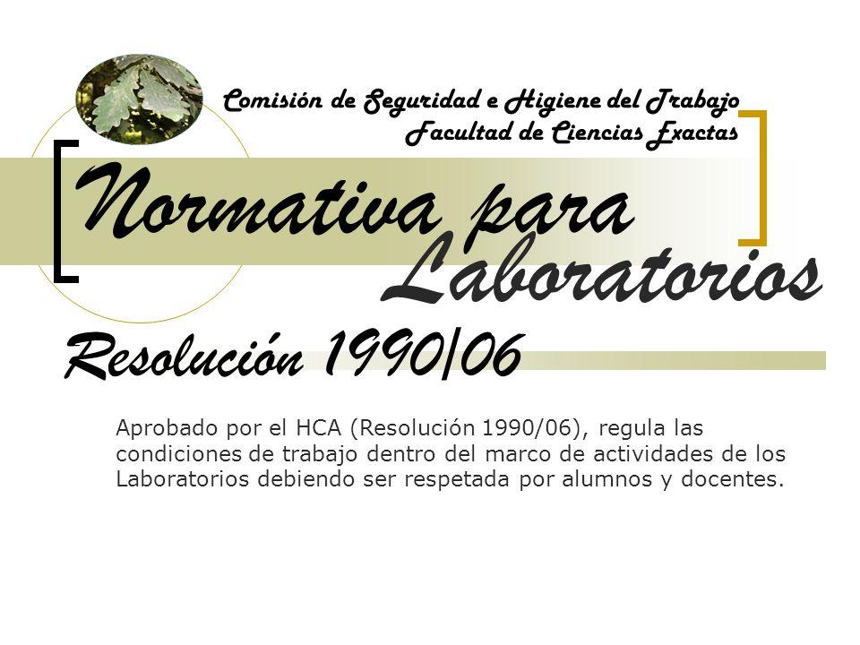 Normativa para Laboratorios Resolución 1990/06