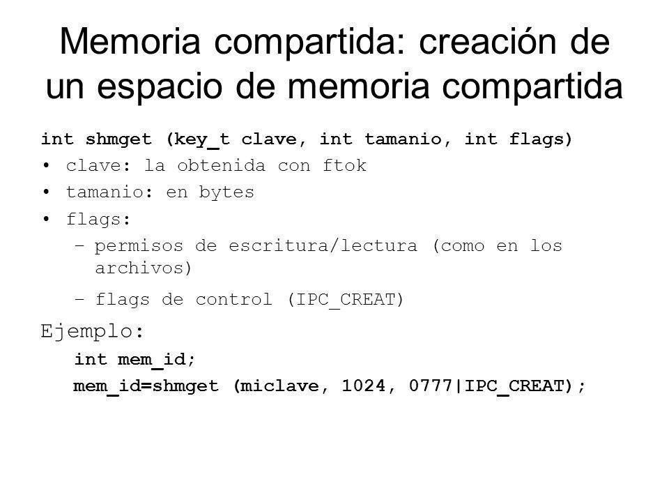Memoria compartida: creación de un espacio de memoria compartida