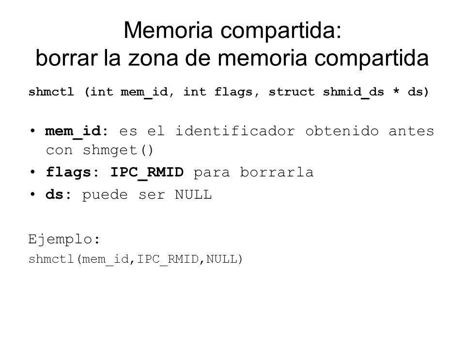Memoria compartida: borrar la zona de memoria compartida
