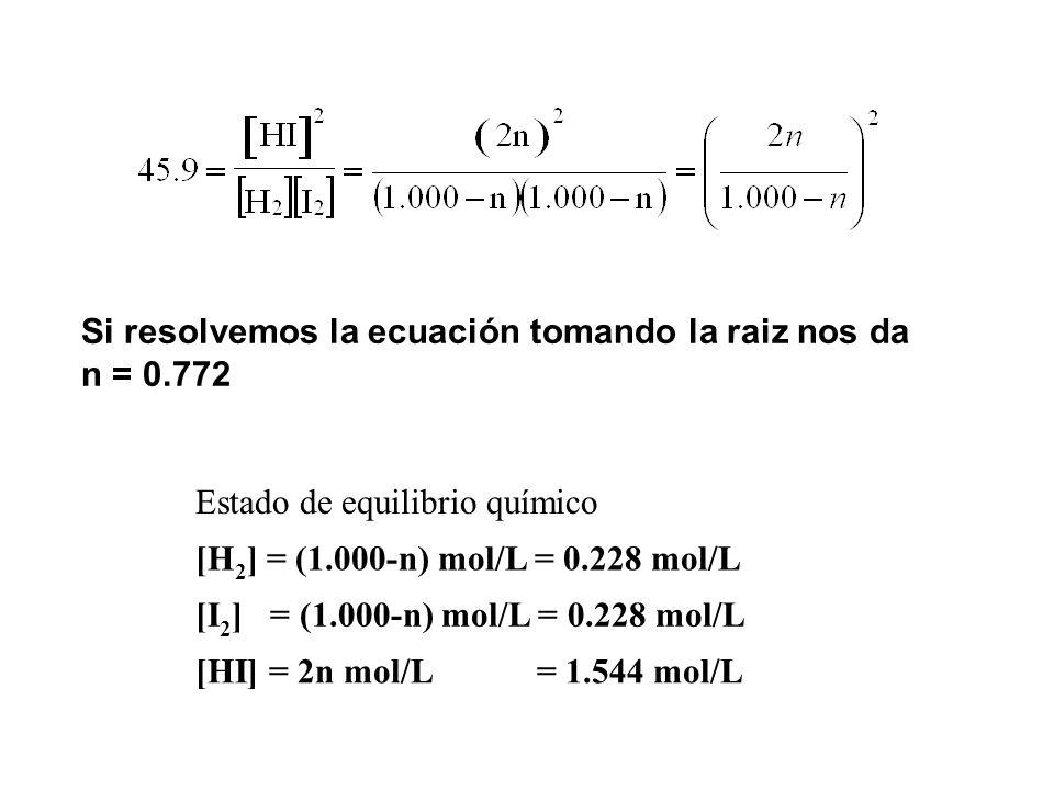 Si resolvemos la ecuación tomando la raiz nos da n = 0.772
