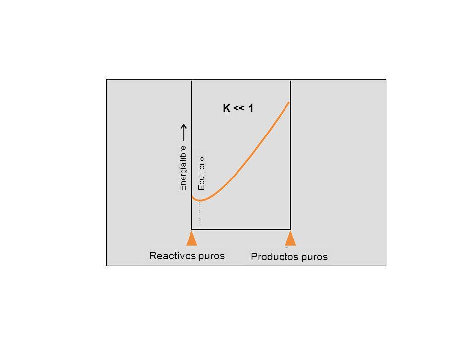 Equilibrio Energía libre Reactivos puros Productos puros K << 1