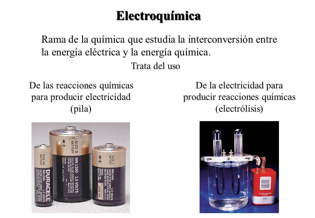 Electroquímica Rama de la química que estudia la interconversión entre la energía eléctrica y la energía química.