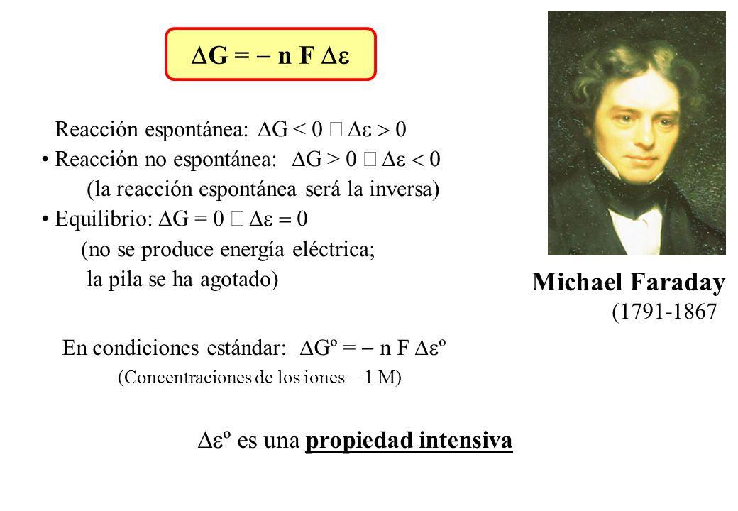 DG = - n F De Michael Faraday (1791-1867)