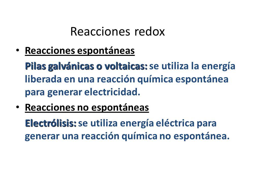 Reacciones redox Reacciones espontáneas