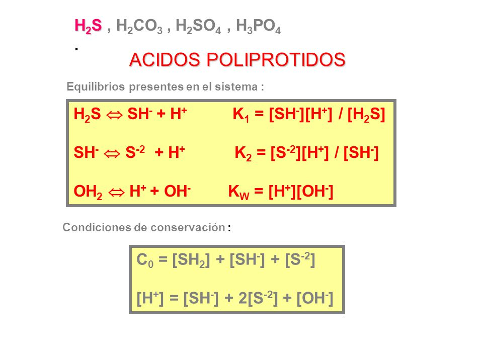 ACIDOS POLIPROTIDOS H2S , H2CO3 , H2SO4 , H3PO4 .