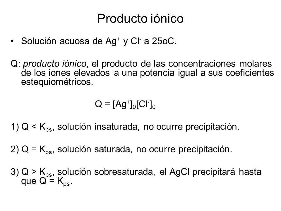 Producto iónico Solución acuosa de Ag+ y Cl- a 25oC.