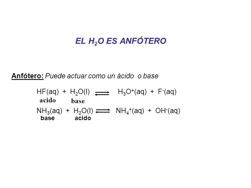 HF(aq) + H2O(l) H3O+(aq) + F-(aq) NH3(aq) + H2O(l) NH4+(aq) + OH-(aq)