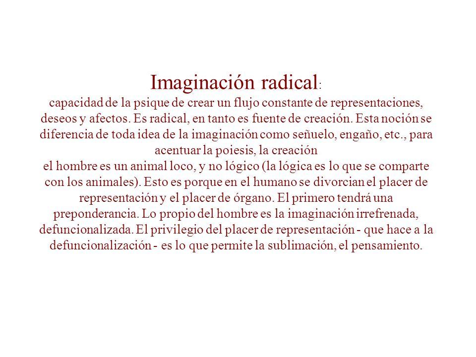 Imaginación radical: capacidad de la psique de crear un flujo constante de representaciones, deseos y afectos.