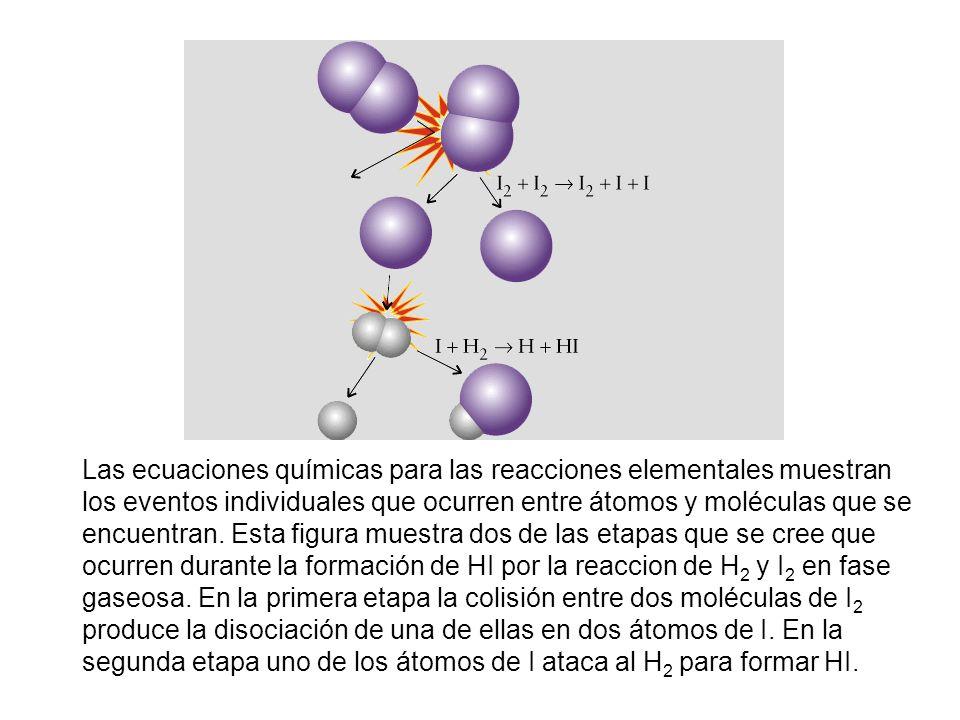 Las ecuaciones químicas para las reacciones elementales muestran los eventos individuales que ocurren entre átomos y moléculas que se encuentran.